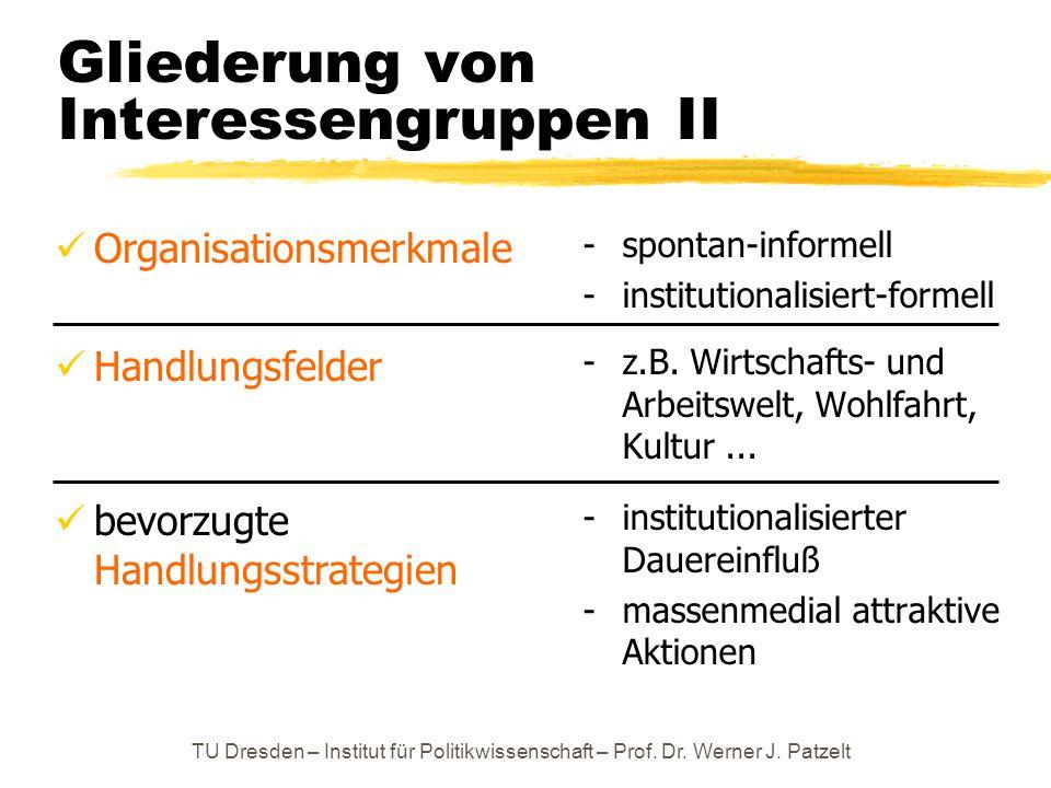 TU Dresden – Institut für Politikwissenschaft – Prof. Dr. Werner J. Patzelt Gliederung von Interessengruppen II Organisationsmerkmale Handlungsfelder