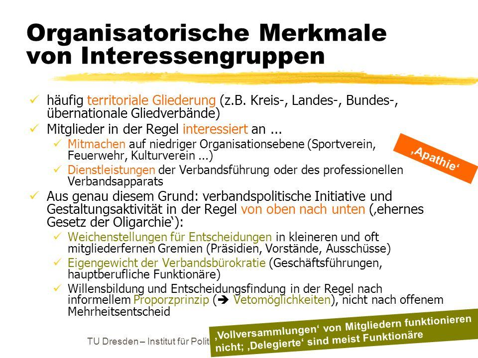 TU Dresden – Institut für Politikwissenschaft – Prof. Dr. Werner J. Patzelt Organisatorische Merkmale von Interessengruppen häufig territoriale Gliede