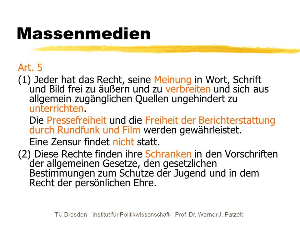 TU Dresden – Institut für Politikwissenschaft – Prof. Dr. Werner J. Patzelt Massenmedien Art. 5 (1) Jeder hat das Recht, seine Meinung in Wort, Schrif