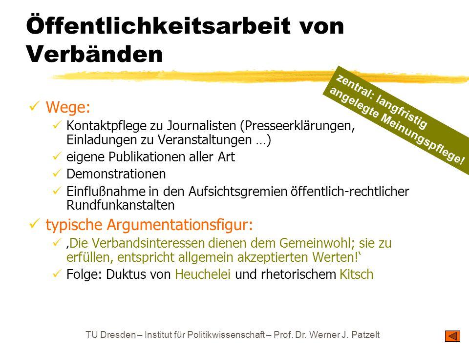 TU Dresden – Institut für Politikwissenschaft – Prof. Dr. Werner J. Patzelt Öffentlichkeitsarbeit von Verbänden Wege: Kontaktpflege zu Journalisten (P