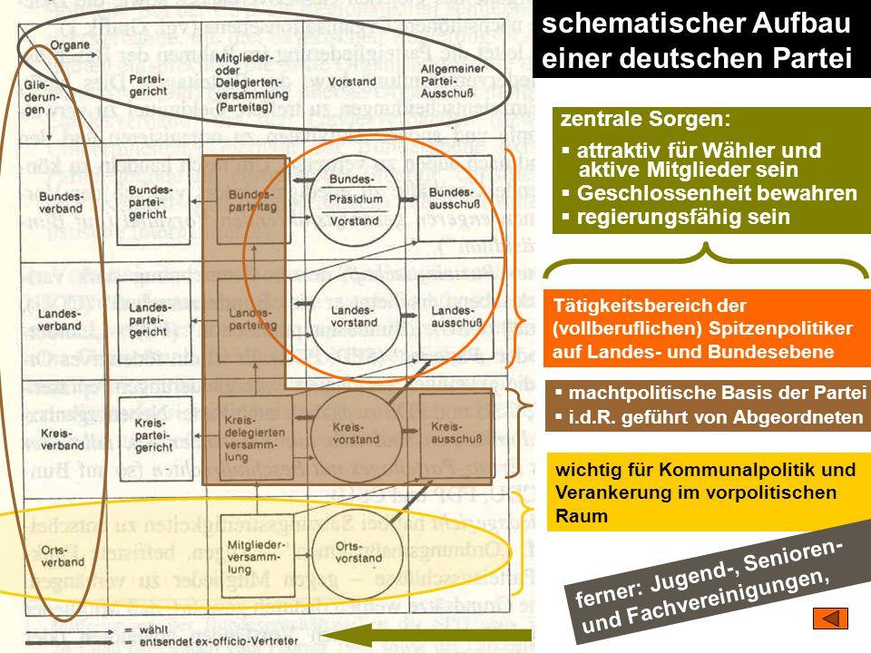 TU Dresden – Institut für Politikwissenschaft – Prof. Dr. Werner J. Patzelt schematischer Aufbau einer deutschen Partei  machtpolitische Basis der Pa