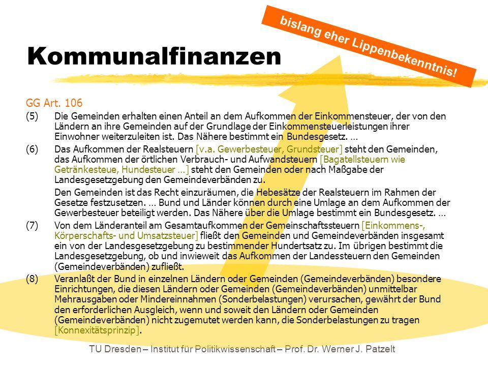 TU Dresden – Institut für Politikwissenschaft – Prof. Dr. Werner J. Patzelt Kommunalfinanzen GG Art. 106 (5)Die Gemeinden erhalten einen Anteil an dem