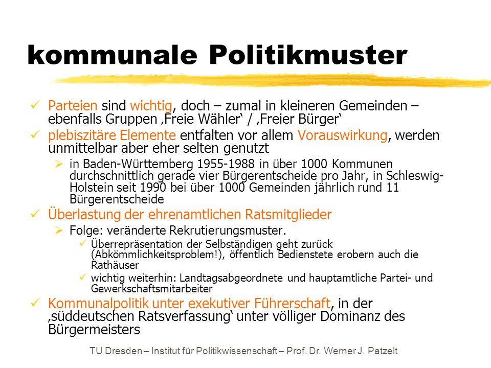 TU Dresden – Institut für Politikwissenschaft – Prof. Dr. Werner J. Patzelt kommunale Politikmuster Parteien sind wichtig, doch – zumal in kleineren G