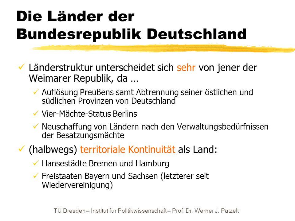 TU Dresden – Institut für Politikwissenschaft – Prof. Dr. Werner J. Patzelt Die Länder der Bundesrepublik Deutschland Länderstruktur unterscheidet sic
