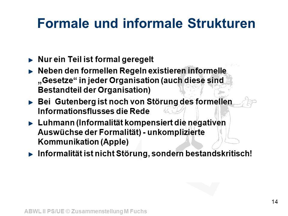 ABWL II PS/UE © Zusammenstellung M Fuchs 14 Formale und informale Strukturen Nur ein Teil ist formal geregelt Neben den formellen Regeln existieren in