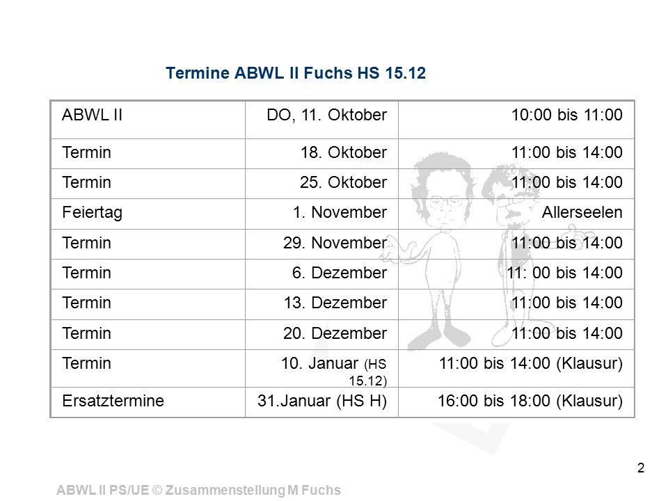ABWL II PS/UE © Zusammenstellung M Fuchs 2 Termine ABWL II Fuchs HS 15.12 ABWL IIDO, 11.