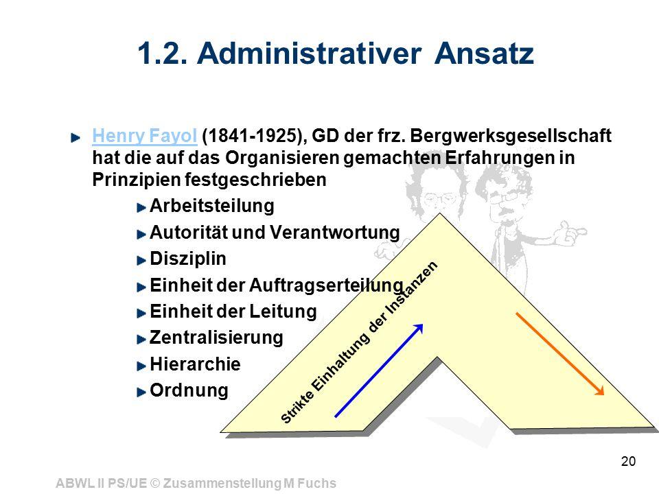 ABWL II PS/UE © Zusammenstellung M Fuchs 20 1.2. Administrativer Ansatz Henry FayolHenry Fayol (1841-1925), GD der frz. Bergwerksgesellschaft hat die