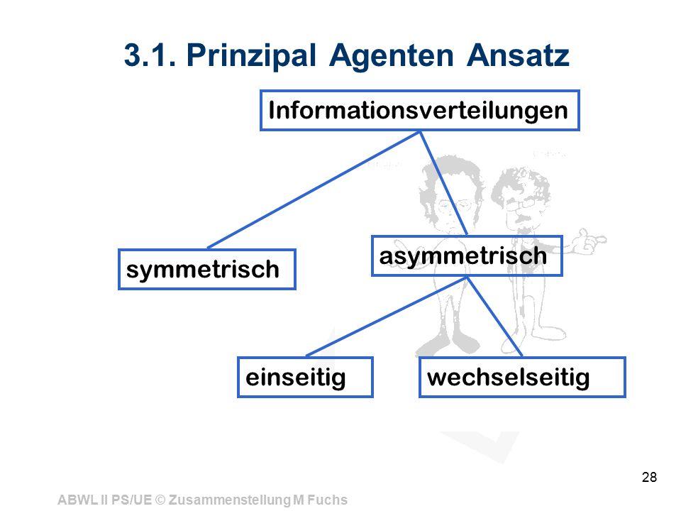 ABWL II PS/UE © Zusammenstellung M Fuchs 28 3.1. Prinzipal Agenten Ansatz Informationsverteilungen symmetrisch asymmetrisch einseitigwechselseitig