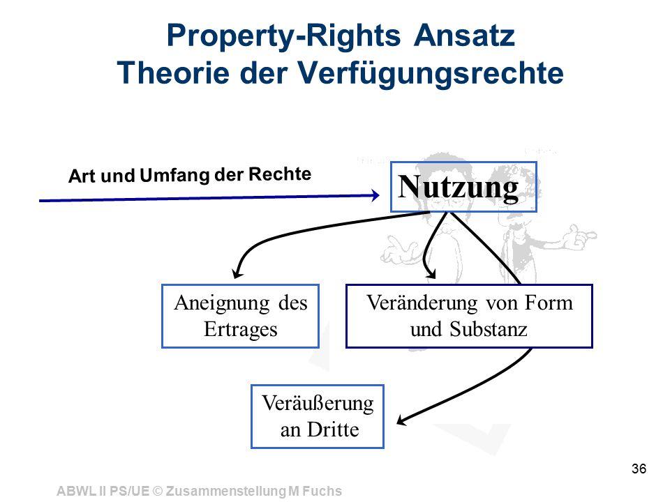 ABWL II PS/UE © Zusammenstellung M Fuchs 36 Property-Rights Ansatz Theorie der Verfügungsrechte Nutzung Aneignung des Ertrages Veräußerung an Dritte Art und Umfang der Rechte Veränderung von Form und Substanz