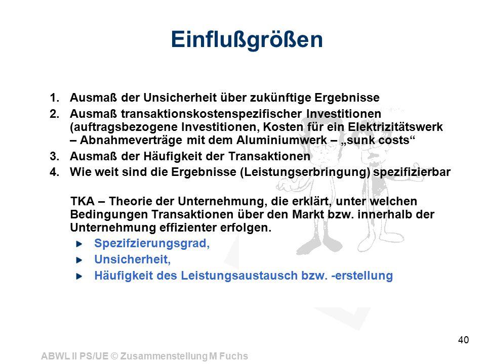 ABWL II PS/UE © Zusammenstellung M Fuchs 40 Einflußgrößen 1.Ausmaß der Unsicherheit über zukünftige Ergebnisse 2.Ausmaß transaktionskostenspezifischer