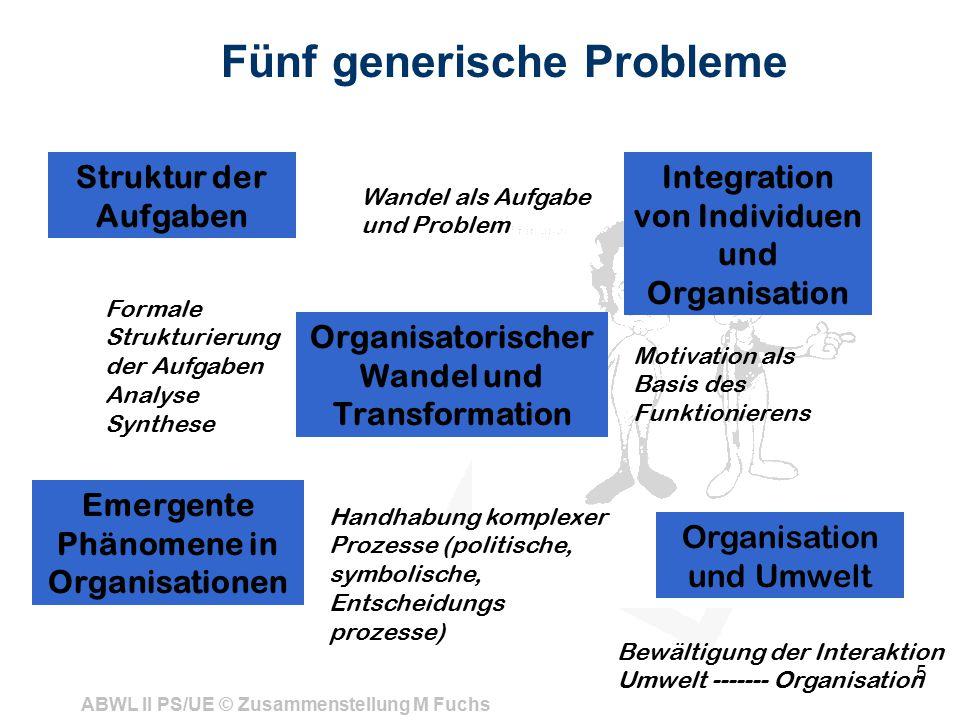 ABWL II PS/UE © Zusammenstellung M Fuchs 5 Fünf generische Probleme Struktur der Aufgaben Organisatorischer Wandel und Transformation Organisation und