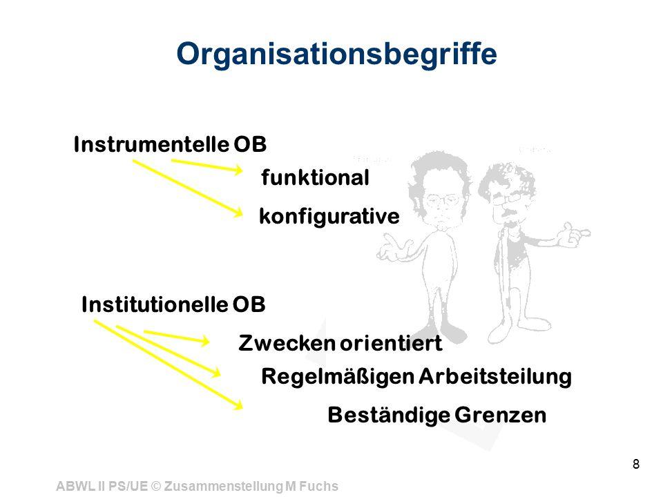 ABWL II PS/UE © Zusammenstellung M Fuchs 8 Organisationsbegriffe Instrumentelle OB funktional konfigurative Institutionelle OB Zwecken orientiert Regelmäßigen Arbeitsteilung Beständige Grenzen