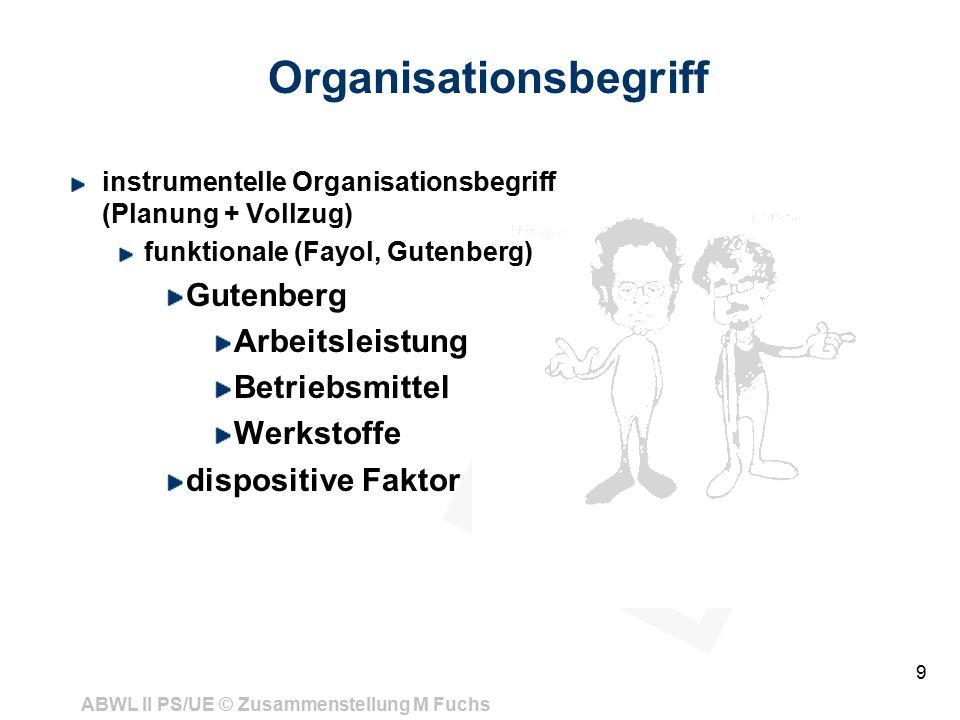 ABWL II PS/UE © Zusammenstellung M Fuchs 9 Organisationsbegriff instrumentelle Organisationsbegriff (Planung + Vollzug) funktionale (Fayol, Gutenberg) Gutenberg Arbeitsleistung Betriebsmittel Werkstoffe dispositive Faktor