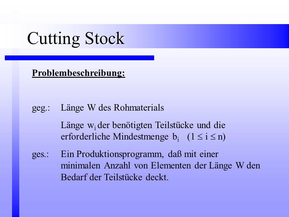Cutting Stock Problembeschreibung: geg.: Länge W des Rohmaterials Länge w i der benötigten Teilstücke und die erforderliche Mindestmenge b i (1  i 