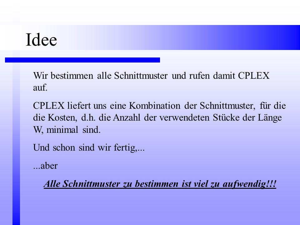 Wir bestimmen alle Schnittmuster und rufen damit CPLEX auf. CPLEX liefert uns eine Kombination der Schnittmuster, für die die Kosten, d.h. die Anzahl