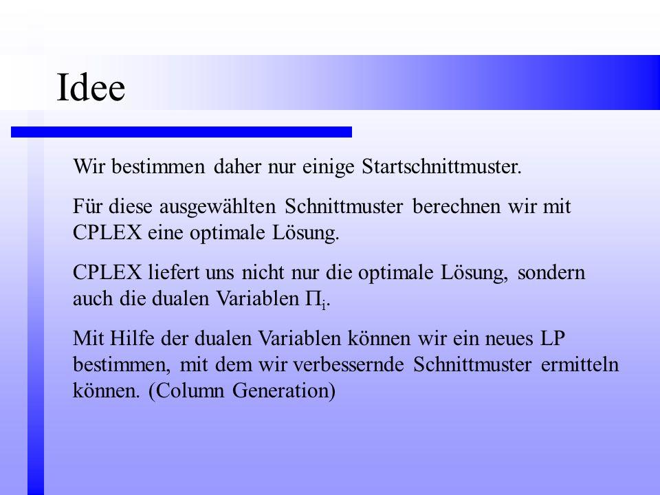 Wir bestimmen daher nur einige Startschnittmuster. Für diese ausgewählten Schnittmuster berechnen wir mit CPLEX eine optimale Lösung. CPLEX liefert un
