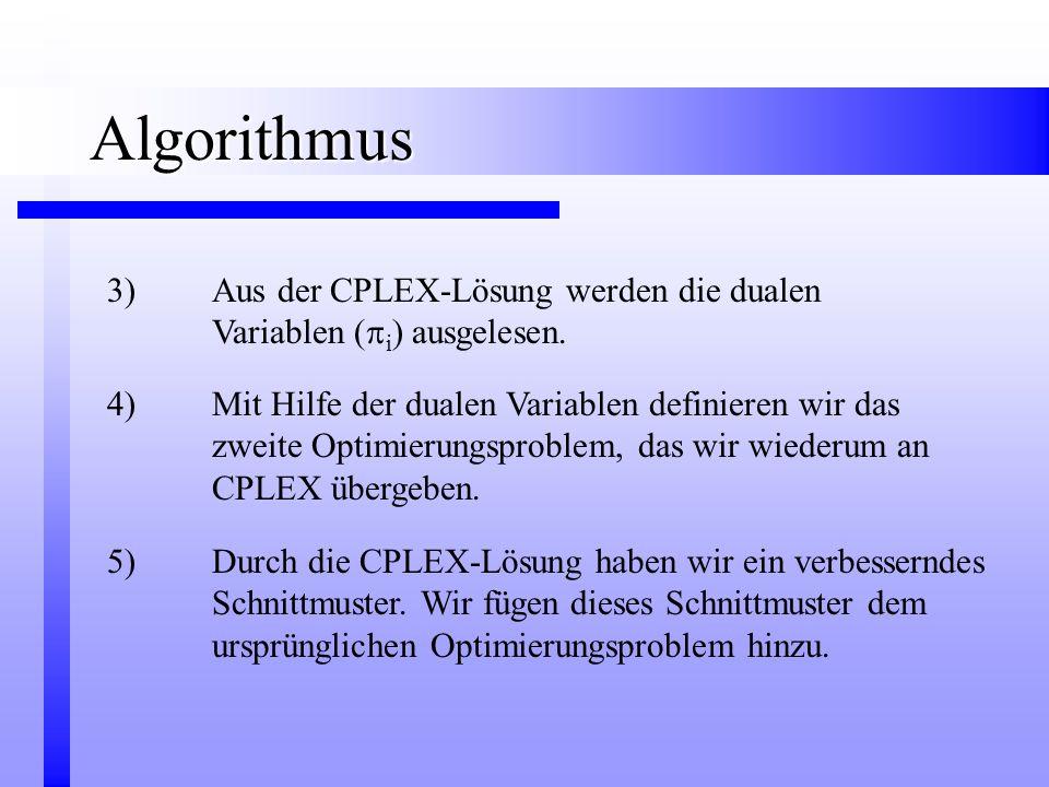 4)Mit Hilfe der dualen Variablen definieren wir das zweite Optimierungsproblem, das wir wiederum an CPLEX übergeben. 3)Aus der CPLEX-Lösung werden die