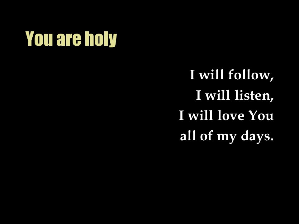 You are holy I will follow, I will listen, I will love You all of my days.