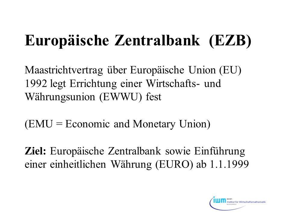 Europäische Zentralbank (EZB) Maastrichtvertrag über Europäische Union (EU) 1992 legt Errichtung einer Wirtschafts- und Währungsunion (EWWU) fest (EMU