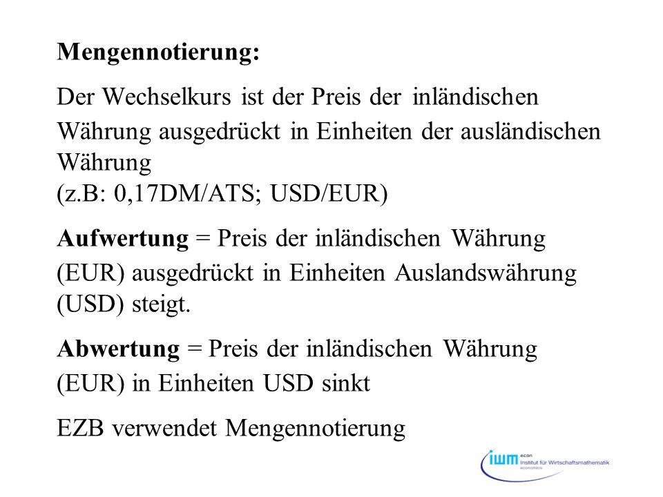 Mengennotierung: Der Wechselkurs ist der Preis der inländischen Währung ausgedrückt in Einheiten der ausländischen Währung (z.B: 0,17DM/ATS; USD/EUR)