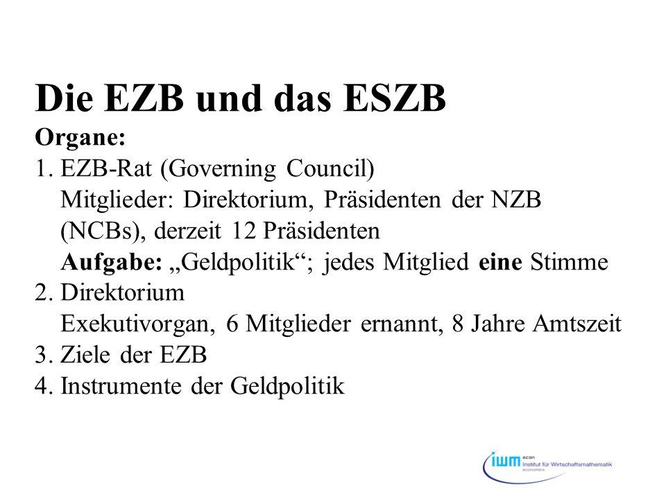 """Die EZB und das ESZB Organe: 1. EZB-Rat (Governing Council) Mitglieder: Direktorium, Präsidenten der NZB (NCBs), derzeit 12 Präsidenten Aufgabe: """"Geld"""