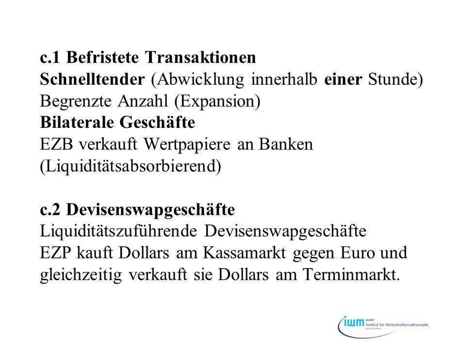 c.1 Befristete Transaktionen Schnelltender (Abwicklung innerhalb einer Stunde) Begrenzte Anzahl (Expansion) Bilaterale Geschäfte EZB verkauft Wertpapi