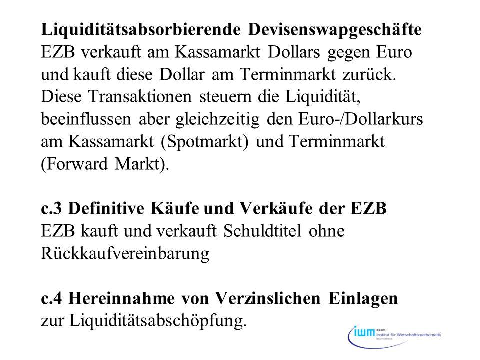 Liquiditätsabsorbierende Devisenswapgeschäfte EZB verkauft am Kassamarkt Dollars gegen Euro und kauft diese Dollar am Terminmarkt zurück. Diese Transa