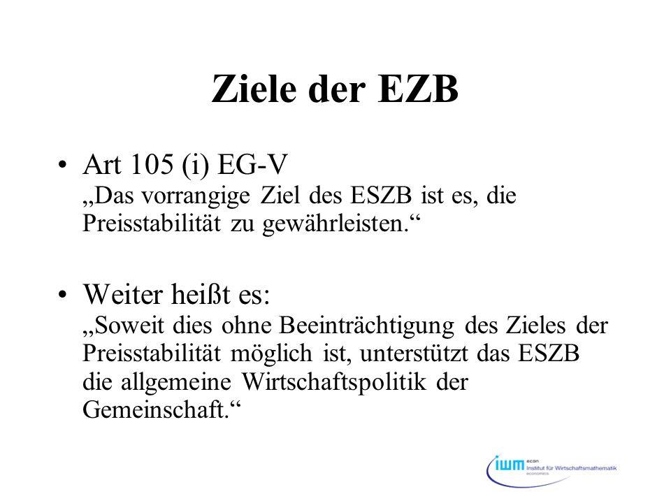 """Ziele der EZB Art 105 (i) EG-V """"Das vorrangige Ziel des ESZB ist es, die Preisstabilität zu gewährleisten."""" Weiter heißt es: """"Soweit dies ohne Beeintr"""
