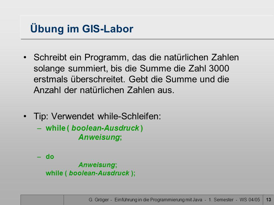 G. Gröger - Einführung in die Programmierung mit Java - 1. Semester - WS 04/0513 Übung im GIS-Labor Schreibt ein Programm, das die natürlichen Zahlen
