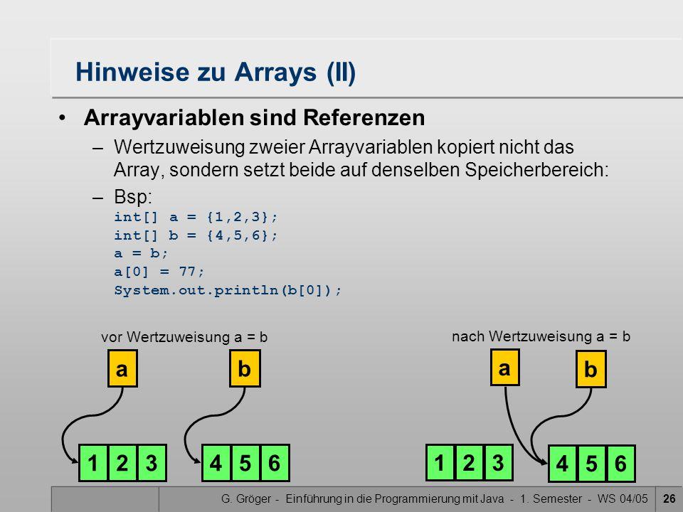 G. Gröger - Einführung in die Programmierung mit Java - 1. Semester - WS 04/0526 Hinweise zu Arrays (II) Arrayvariablen sind Referenzen –Wertzuweisung