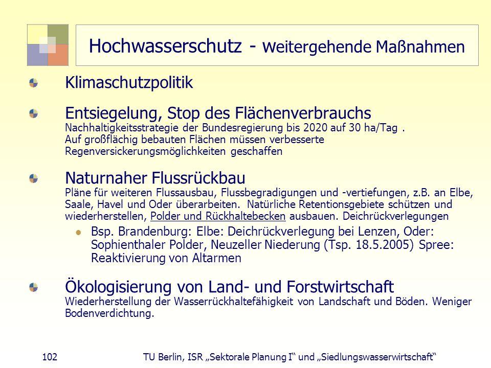 """102 TU Berlin, ISR """"Sektorale Planung I und """"Siedlungswasserwirtschaft Hochwasserschutz - w eitergehende Maßnahmen Klimaschutzpolitik Entsiegelung, Stop des Flächenverbrauchs Nachhaltigkeitsstrategie der Bundesregierung bis 2020 auf 30 ha/Tag."""