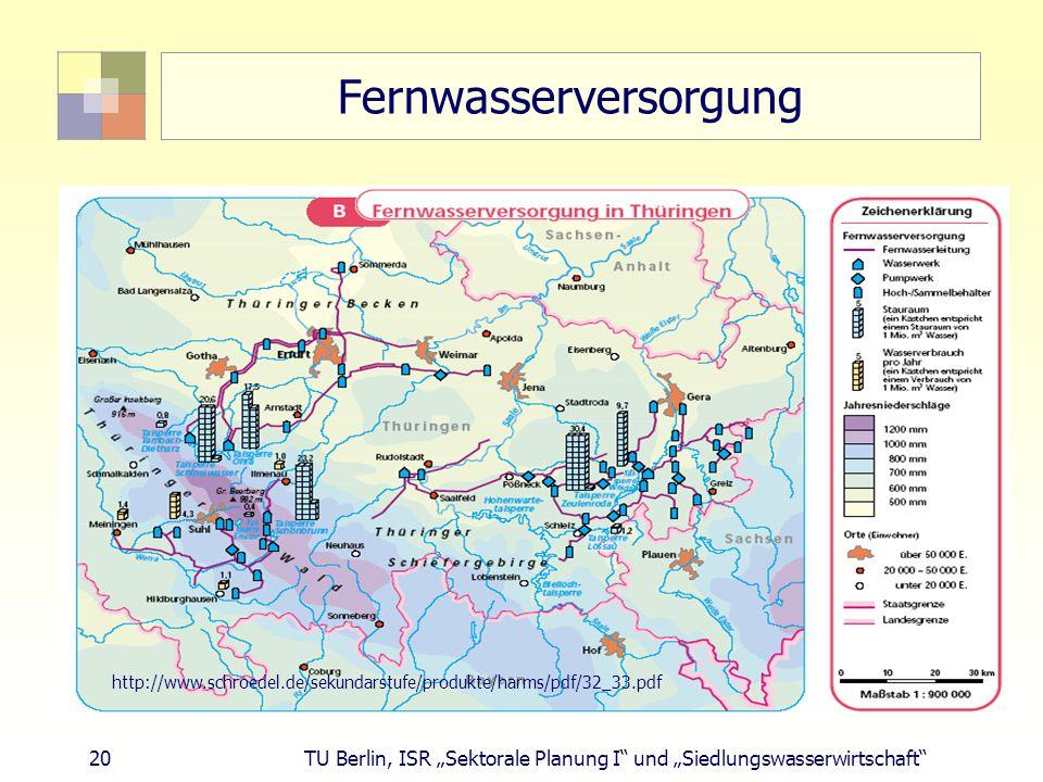 """20 TU Berlin, ISR """"Sektorale Planung I und """"Siedlungswasserwirtschaft Fernwasserversorgung http://www.schroedel.de/sekundarstufe/produkte/harms/pdf/32_33.pdf"""