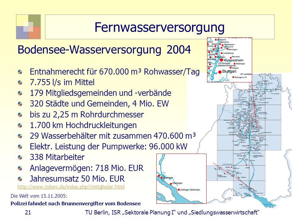 """21 TU Berlin, ISR """"Sektorale Planung I und """"Siedlungswasserwirtschaft Fernwasserversorgung Bodensee-Wasserversorgung 2004 Entnahmerecht für 670.000 m³ Rohwasser/Tag 7.755 l/s im Mittel 179 Mitgliedsgemeinden und -verbände 320 Städte und Gemeinden, 4 Mio."""