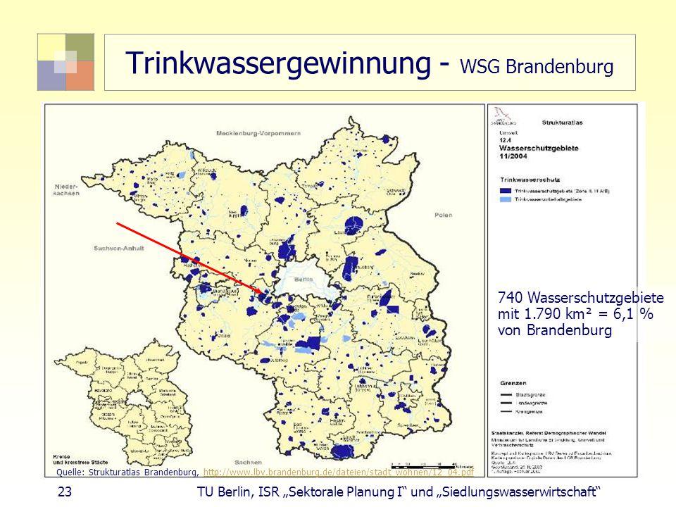 """23 TU Berlin, ISR """"Sektorale Planung I und """"Siedlungswasserwirtschaft Trinkwassergewinnung - WSG Brandenburg Quelle: Strukturatlas Brandenburg, http://www.lbv.brandenburg.de/dateien/stadt_wohnen/12_04.pdfhttp://www.lbv.brandenburg.de/dateien/stadt_wohnen/12_04.pdf 740 Wasserschutzgebiete mit 1.790 km² = 6,1 % von Brandenburg"""