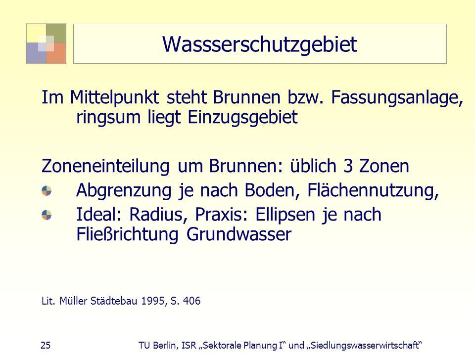 """25 TU Berlin, ISR """"Sektorale Planung I und """"Siedlungswasserwirtschaft Wassserschutzgebiet Im Mittelpunkt steht Brunnen bzw."""
