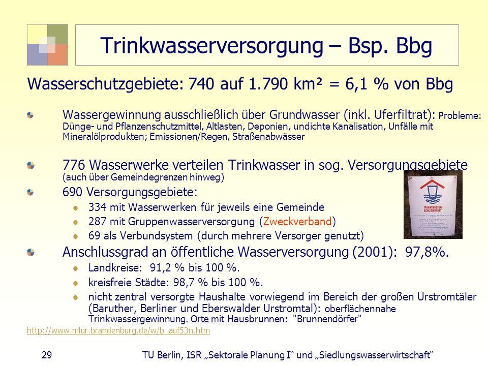 """29 TU Berlin, ISR """"Sektorale Planung I und """"Siedlungswasserwirtschaft Trinkwasserversorgung – Bsp."""