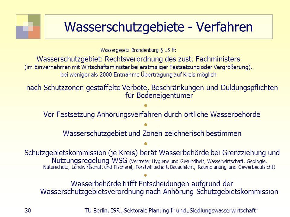 """30 TU Berlin, ISR """"Sektorale Planung I und """"Siedlungswasserwirtschaft Wasserschutzgebiete - Verfahren Wassergesetz Brandenburg § 15 ff: Wasserschutzgebiet: Rechtsverordnung des zust."""