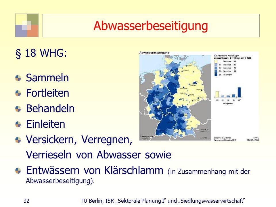 """32 TU Berlin, ISR """"Sektorale Planung I und """"Siedlungswasserwirtschaft Abwasserbeseitigung § 18 WHG: Sammeln Fortleiten Behandeln Einleiten Versickern, Verregnen, Verrieseln von Abwasser sowie Entwässern von Klärschlamm (in Zusammenhang mit der Abwasserbeseitigung)."""