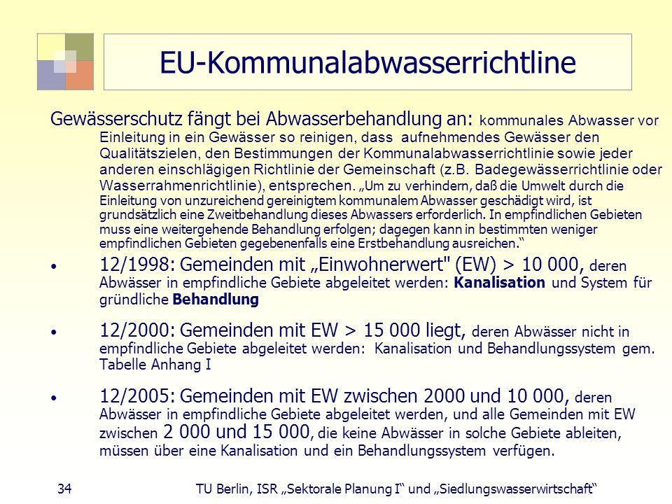 """34 TU Berlin, ISR """"Sektorale Planung I und """"Siedlungswasserwirtschaft EU-Kommunalabwasserrichtline Gewässerschutz fängt bei Abwasserbehandlung an: kommunales Abwasser vor Einleitung in ein Gew ä sser so reinigen, dass aufnehmendes Gew ä sser den Qualit ä tszielen, den Bestimmungen der Kommunalabwasserrichtlinie sowie jeder anderen einschl ä gigen Richtlinie der Gemeinschaft (z.B."""