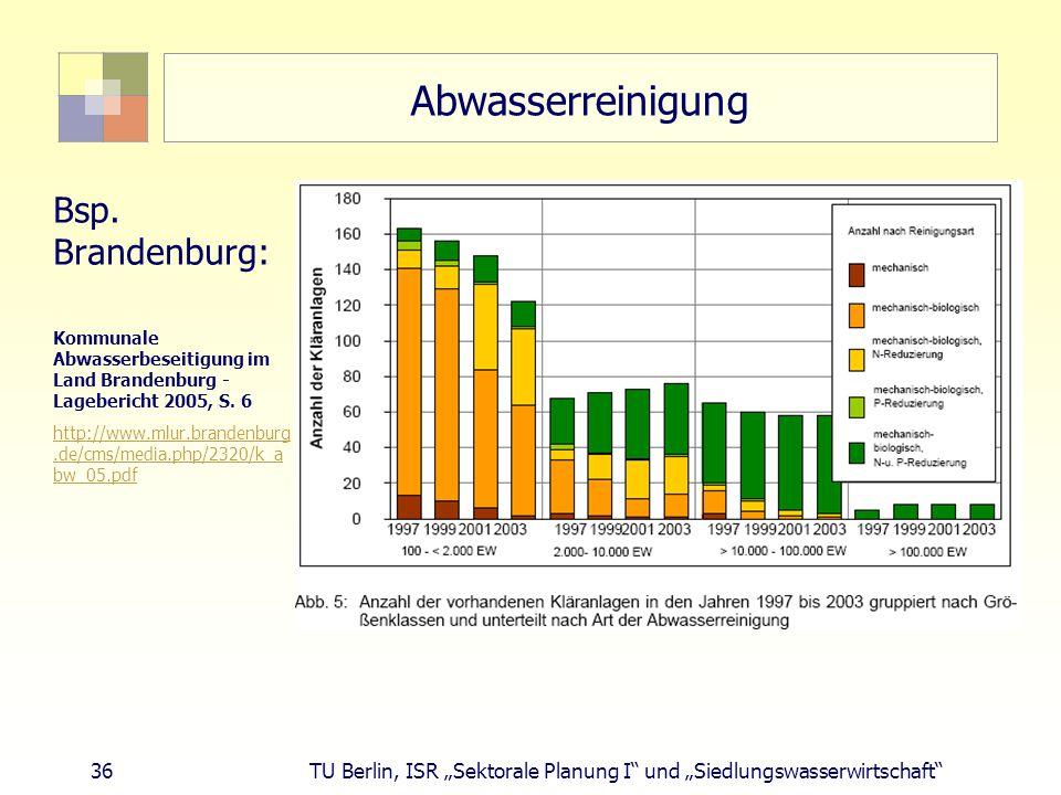 """36 TU Berlin, ISR """"Sektorale Planung I und """"Siedlungswasserwirtschaft Abwasserreinigung Bsp."""