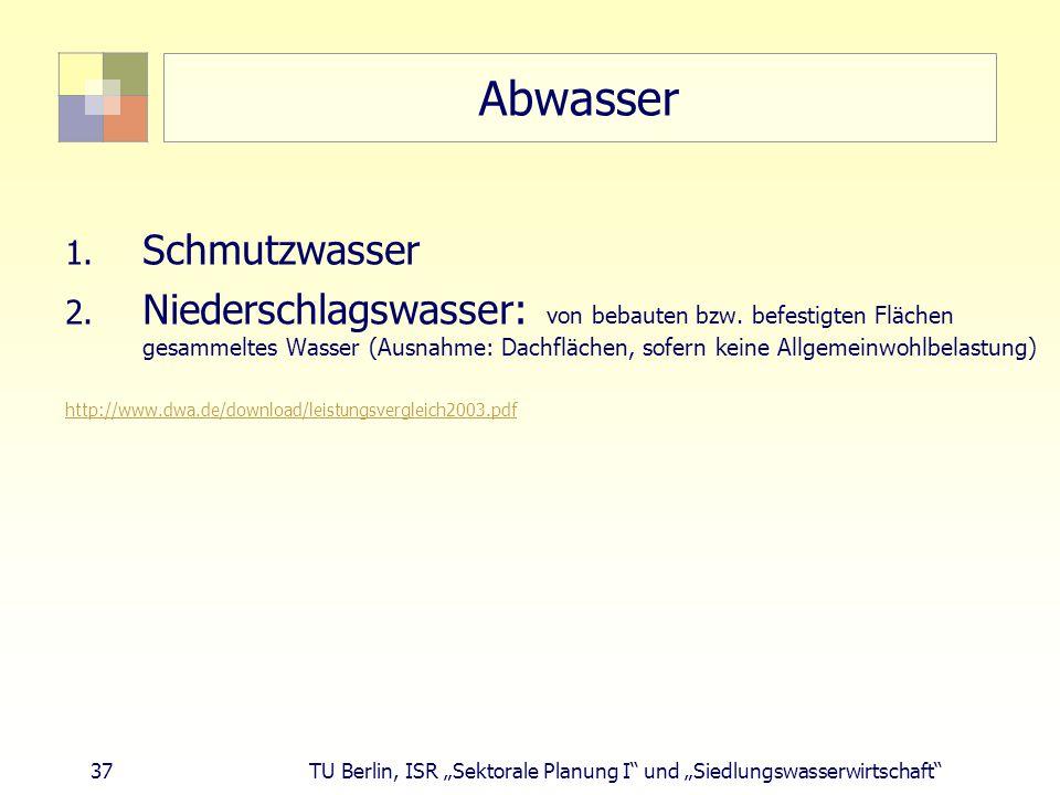 """37 TU Berlin, ISR """"Sektorale Planung I und """"Siedlungswasserwirtschaft Abwasser 1."""