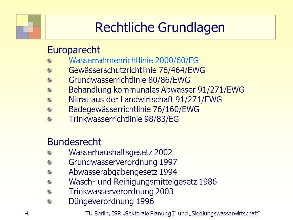 """4 TU Berlin, ISR """"Sektorale Planung I und """"Siedlungswasserwirtschaft Rechtliche Grundlagen Europarecht Wasserrahmenrichtlinie 2000/60/EG Gewässerschutzrichtlinie 76/464/EWG Grundwasserrichtlinie 80/86/EWG Behandlung kommunales Abwasser 91/271/EWG Nitrat aus der Landwirtschaft 91/271/EWG Badegewässerrichtlinie 76/160/EWG Trinkwasserrichtlinie 98/83/EG Bundesrecht Wasserhaushaltsgesetz 2002 Grundwasserverordnung 1997 Abwasserabgabengesetz 1994 Wasch- und Reinigungsmittelgesetz 1986 Trinkwasserverordnung 2003 Düngeverordnung 1996"""