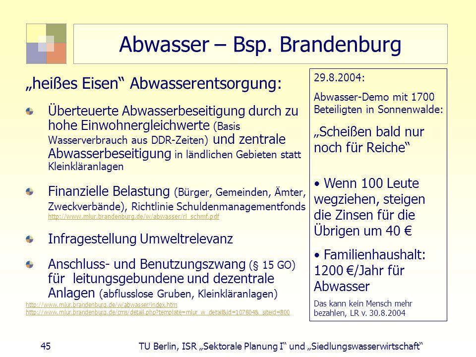 """45 TU Berlin, ISR """"Sektorale Planung I und """"Siedlungswasserwirtschaft Abwasser – Bsp."""