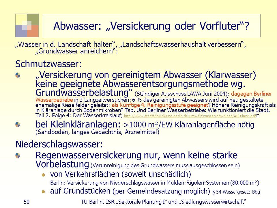 """50 TU Berlin, ISR """"Sektorale Planung I und """"Siedlungswasserwirtschaft Abwasser: """"Versickerung oder Vorfluter ."""