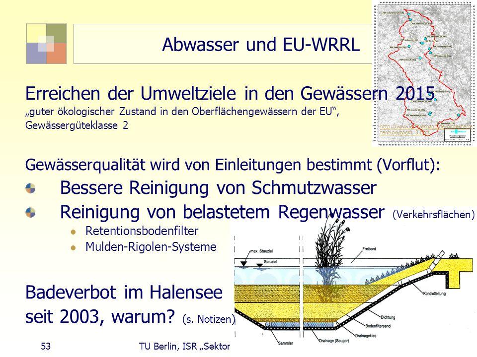 """53 TU Berlin, ISR """"Sektorale Planung I und """"Siedlungswasserwirtschaft Abwasser und EU-WRRL Erreichen der Umweltziele in den Gewässern 2015 """"guter ökologischer Zustand in den Oberflächengewässern der EU , Gewässergüteklasse 2 Gewässerqualität wird von Einleitungen bestimmt (Vorflut): Bessere Reinigung von Schmutzwasser Reinigung von belastetem Regenwasser (Verkehrsflächen) Retentionsbodenfilter Mulden-Rigolen-Systeme Badeverbot im Halensee seit 2003, warum."""