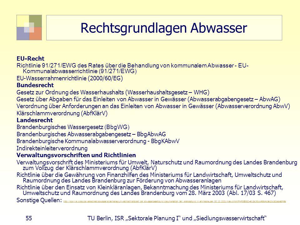 """55 TU Berlin, ISR """"Sektorale Planung I und """"Siedlungswasserwirtschaft Rechtsgrundlagen Abwasser EU-Recht Richtlinie 91/271/EWG des Rates ü ber die Behandlung von kommunalem Abwasser - EU- Kommunalabwasserrichtlinie (91/271/EWG) EU-Wasserrahmenrichtlinie (2000/60/EG) Bundesrecht Gesetz zur Ordnung des Wasserhaushalts (Wasserhaushaltsgesetz – WHG) Gesetz über Abgaben für das Einleiten von Abwasser in Gewässer (Abwasserabgabengesetz – AbwAG) Verordnung über Anforderungen an das Einleiten von Abwasser in Gewässer (Abwasserverordnung AbwV) Klärschlammverordnung (AbfKlärV) Landesrecht Brandenburgisches Wassergesetz (BbgWG) Brandenburgisches Abwasserabgabengesetz – BbgAbwAG Brandenburgische Kommunalabwasserverordnung - BbgKAbwV Indirekteinleiterverordnung Verwaltungsvorschriften und Richtlinien Verwaltungsvorschrift des Ministeriums für Umwelt, Naturschutz und Raumordnung des Landes Brandenburg zum Vollzug der Klärschlammverordnung (AbfKlärV) Richtlinie über die Gewährung von Finanzhilfen des Ministeriums für Landwirtschaft, Umweltschutz und Raumordnung des Landes Brandenburg zur Förderung von Abwasseranlagen Richtlinie über den Einsatz von Kleinkläranlagen, Bekanntmachung des Ministeriums für Landwirtschaft, Umweltschutz und Raumordnung des Landes Brandenburg vom 28."""