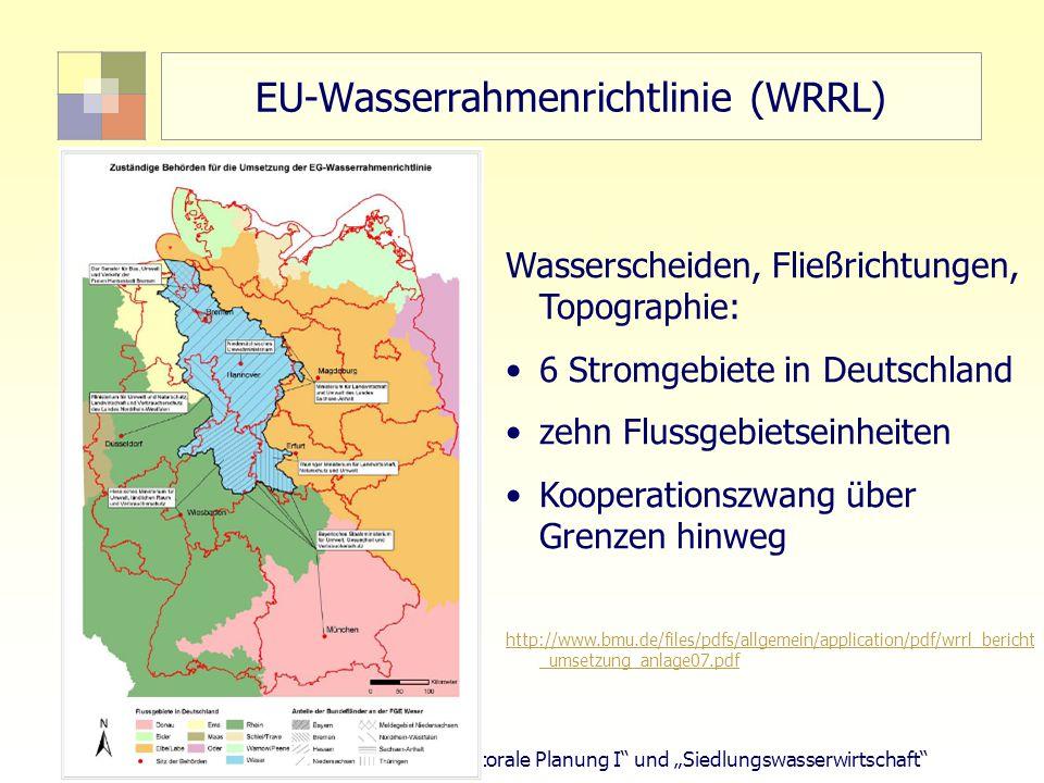 """59 TU Berlin, ISR """"Sektorale Planung I und """"Siedlungswasserwirtschaft EU-Wasserrahmenrichtlinie (WRRL) Wasserscheiden, Fließrichtungen, Topographie: 6 Stromgebiete in Deutschland zehn Flussgebietseinheiten Kooperationszwang über Grenzen hinweg http://www.bmu.de/files/pdfs/allgemein/application/pdf/wrrl_bericht _umsetzung_anlage07.pdf"""
