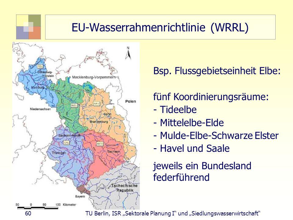 """60 TU Berlin, ISR """"Sektorale Planung I und """"Siedlungswasserwirtschaft EU-Wasserrahmenrichtlinie (WRRL) Bsp."""