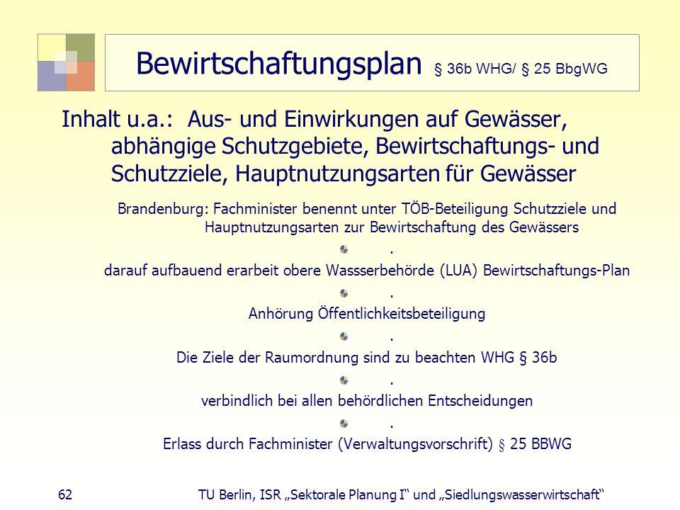 """62 TU Berlin, ISR """"Sektorale Planung I und """"Siedlungswasserwirtschaft Bewirtschaftungsplan § 36b WHG/ § 25 BbgWG Inhalt u.a.: Aus- und Einwirkungen auf Gewässer, abhängige Schutzgebiete, Bewirtschaftungs- und Schutzziele, Hauptnutzungsarten für Gewässer Brandenburg: Fachminister benennt unter TÖB-Beteiligung Schutzziele und Hauptnutzungsarten zur Bewirtschaftung des Gewässers."""