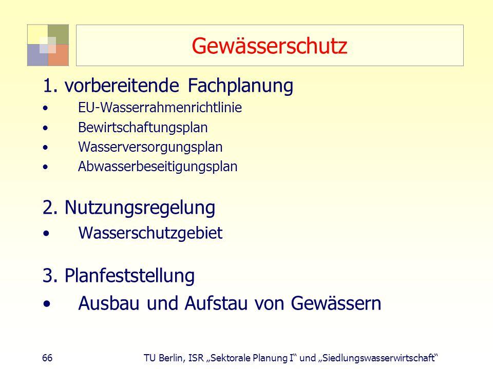 """66 TU Berlin, ISR """"Sektorale Planung I und """"Siedlungswasserwirtschaft Gewässerschutz 1."""